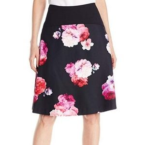 Ellen Tracy A-Line Red & Pink Floral Print Skirt